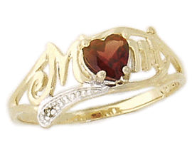 10K Gold Garnet and Diamond Heart Shaped MOM Ring