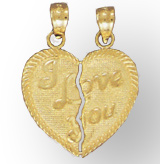 14K Gold Friendship Heart Pendant - I Love You