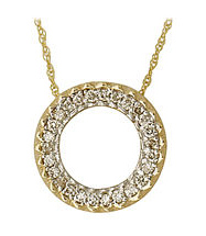 Diamond Circle Pendant - 14K Gold