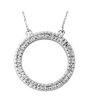 Diamond Circle Pendant in 10K White Gold