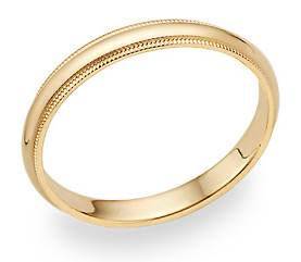 14K Gold 3mm Milligrain Wedding Band Ring (Wedding Rings, Apples of Gold)