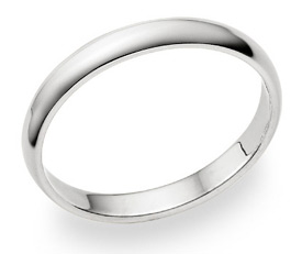 18K White Gold 3mm Plain Wedding Band Ring