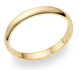 14K Gold 3mm Plain Wedding Band Ring (Wedding Rings, Apples of Gold)