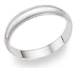 4mm Milgrain Wedding Band in 14K White Gold