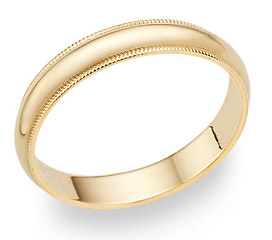 14K Gold 4mm Milligrain Wedding Band Ring (Wedding Rings, Apples of Gold)