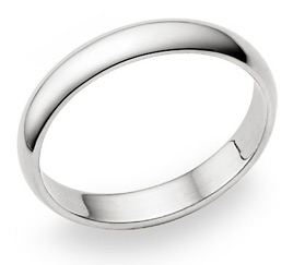 18K White Gold 4mm Plain Wedding Band Ring