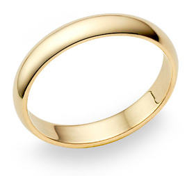 18K Yellow Gold 4mm Plain Wedding Band Ring