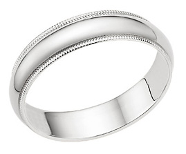 5mm Milgrain Wedding Band in 14K White Gold