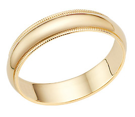 5mm 14K Gold Milgrain Wedding Band Ring