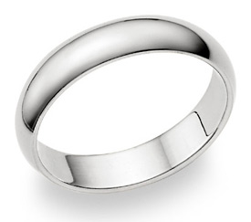 18K White Gold Plain 5mm Wedding Band Ring