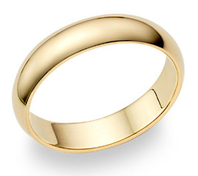 18K Yellow Gold 5mm Plain Wedding Band Ring