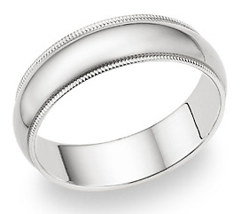 Buy 14K White Gold 6mm Milligrain Wedding Band Ring