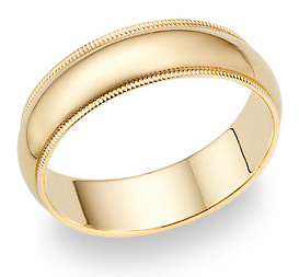 14K Gold 6mm Milligrain Wedding Band Ring (Wedding Rings, Apples of Gold)