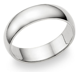 18K White Gold 6mm Plain Wedding Band Ring