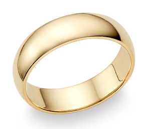 18K Yellow Gold 6mm Plain Wedding Band Ring