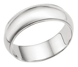 7mm Milgrain Wedding Band in 14K White Gold
