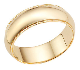 7mm 14K Gold Milgrain Wedding Band Ring