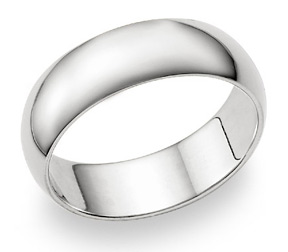 7mm Plain White Gold Wedding Band in 14K