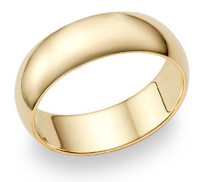 7mm Plain Gold Wedding Band Ring in 14K