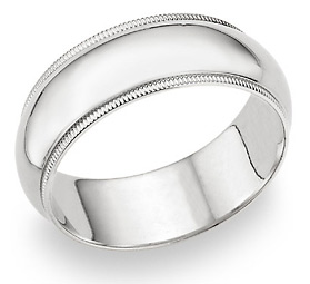 8mm Milgrain Wedding Band in 14K White Gold