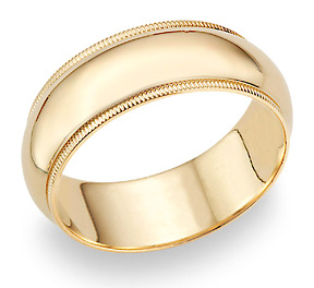 8mm 14K Gold Milgrain Wedding Band Ring