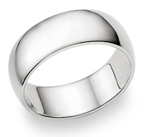 10K White Gold 8mm Plain Wedding Band Ring