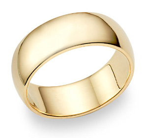 10K Yellow Gold 8mm Plain Wedding Band Ring