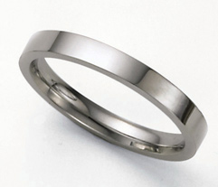 Flat Platinum Wedding Band Ring - 3mm