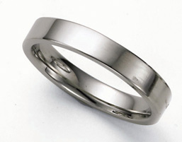 Flat Platinum Wedding Band Ring - 4mm