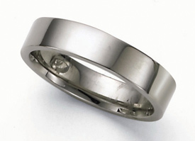 Flat Platinum Wedding Band Ring - 5mm
