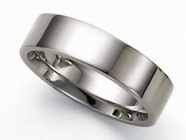 Flat Platinum Wedding Band Ring - 6mm