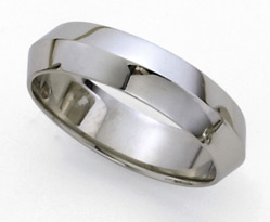 Knife Edge Platinum Wedding Band - 6mm