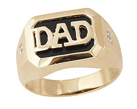 Onyx & Diamond DAD Ring - 10K Gold