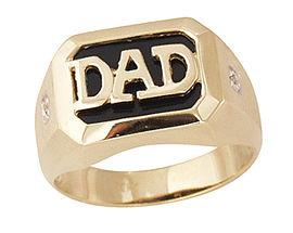 Onyx & Diamond DAD Ring - 10K Gold