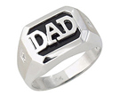 Onyx & Diamond DAD Ring - 10K White Gold