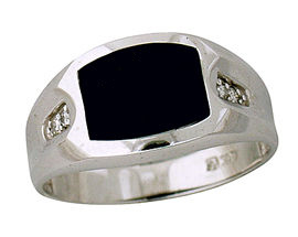 10K White Gold Diamond and Onyx Mens Ring