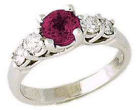 5 Stone Ruby and Diamond Ring, 14K White Gold