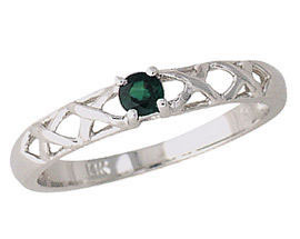 Emerald Antique X Design Ring