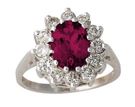 1.00 Carat Diamond and Ruby Ring, 14K White Gold