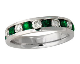 Buy Emerald and Diamond Channel Ring, 14K White Gold