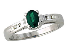 Buy Emerald and Diamond Ring, 14K White Gold