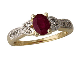 Buy Antique Ruby and Diamond Heart Ring, 14K Gold