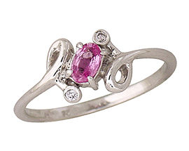Oval Pink Sapphire and Diamond Twist Ring, 14K White Gold