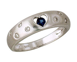 Sapphire and Diamond Heart Ring, 14K White Gold