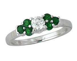 Buy 14K White Gold Diamond and Emerald Ring