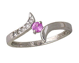Pink Sapphire and Diamond Wave Ring, 14K White Gold