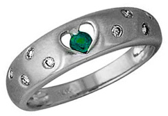 Buy Emerald and Diamond Heart Sparkle Ring, 14K White Gold