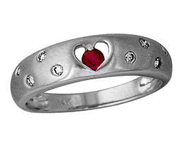 Ruby and Diamond Sparkle Heart Ring, 14K White Gold