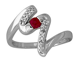 Buy Diamond and Ruby Wave Ring in 14kt White Gold