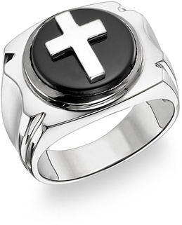 14K White Gold Onyx Cross Ring